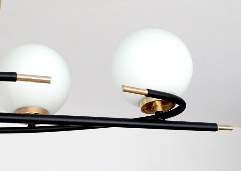 Large  Maison Lunel Brass Chandelier  Pendant Light, Stilnovo Gio Ponti Era For Sale 7