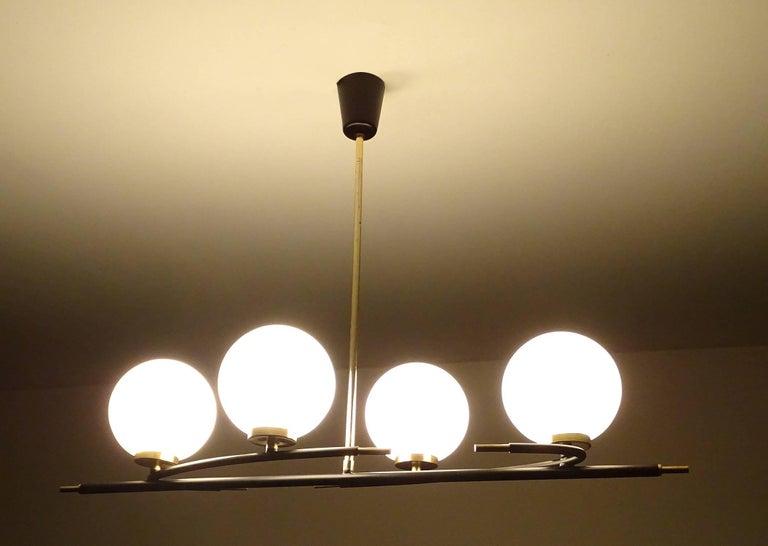 French Large  Maison Lunel Brass Chandelier  Pendant Light, Stilnovo Gio Ponti Era For Sale