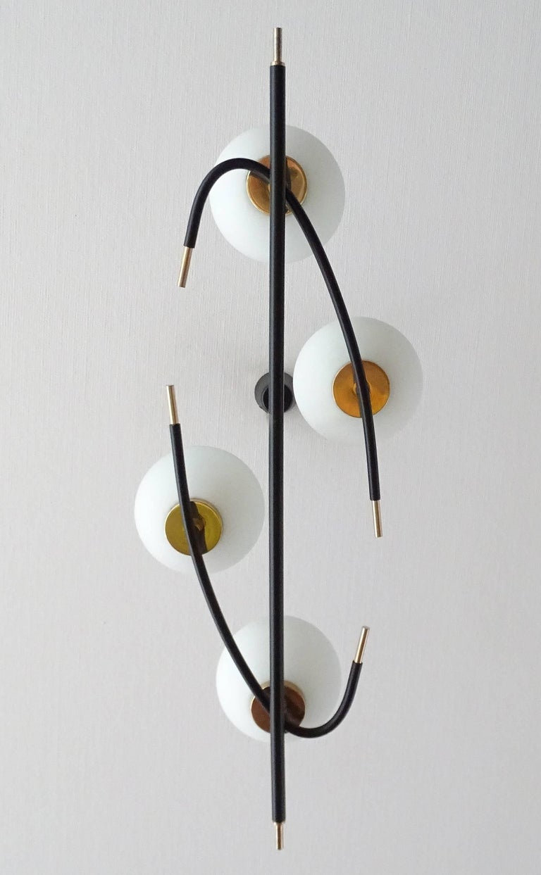 Large  Maison Lunel Brass Chandelier  Pendant Light, Stilnovo Gio Ponti Era For Sale 6