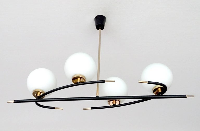 Mid Century Modern Large French Linear Lunel Brass Black Pendants Chandelier For