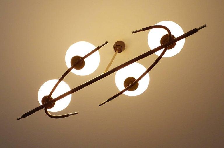 Mid-20th Century Large  Maison Lunel Brass Chandelier  Pendant Light, Stilnovo Gio Ponti Era For Sale