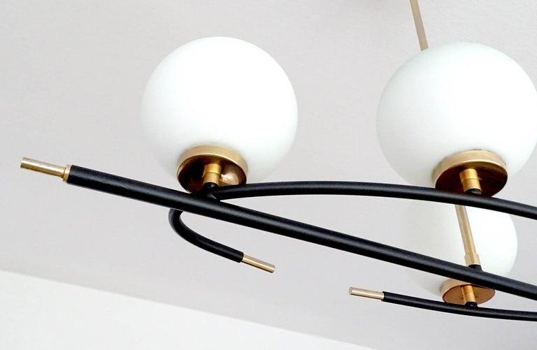 Large  Maison Lunel Brass Chandelier  Pendant Light, Stilnovo Gio Ponti Era For Sale 8