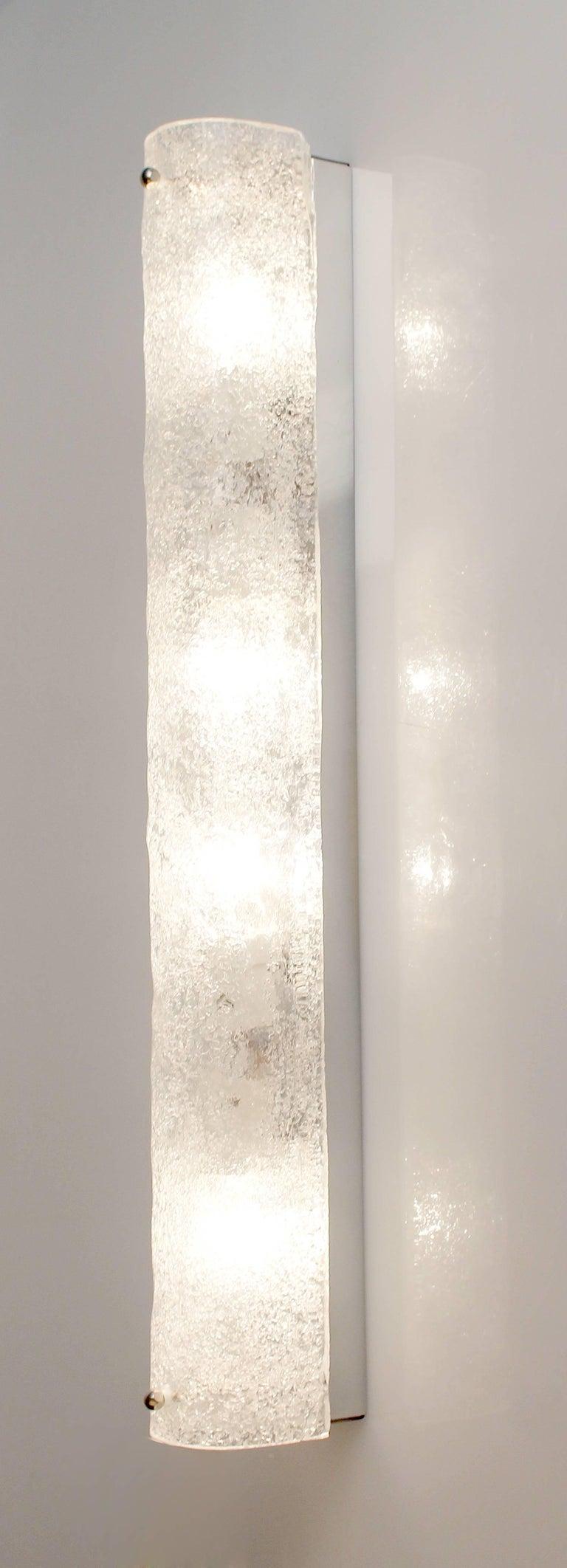Three Large MidCentury Murano Glass Mirror Vanity Sconces, Gio Ponti Era In Good Condition For Sale In Bremen, DE