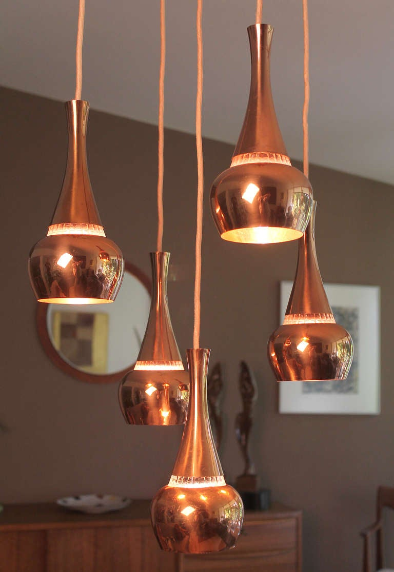 Five fog and morup orient copper glas pendant lamp danish modern five mid century modern danish pendant lights onion shaped copper reflector with a faceted glass mozeypictures