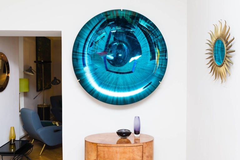 Amazing large concave mirror object by Christophe Gaignon, France 2017, unique piece, concave mirror glass bowl, blue and green reflections, brass mount suspension, signed on the backside. Perfect condition.