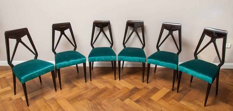 Set of six chairs by Vittorio Dassi, Italy circa 1950, newly restored, black shellac polished, reupholstered by Dedar