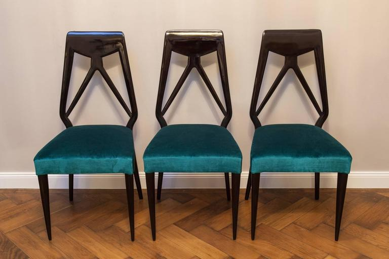 Mid-Century Modern Set of Six Vittorio Dassi Chairs, Italy, circa 1950 For Sale