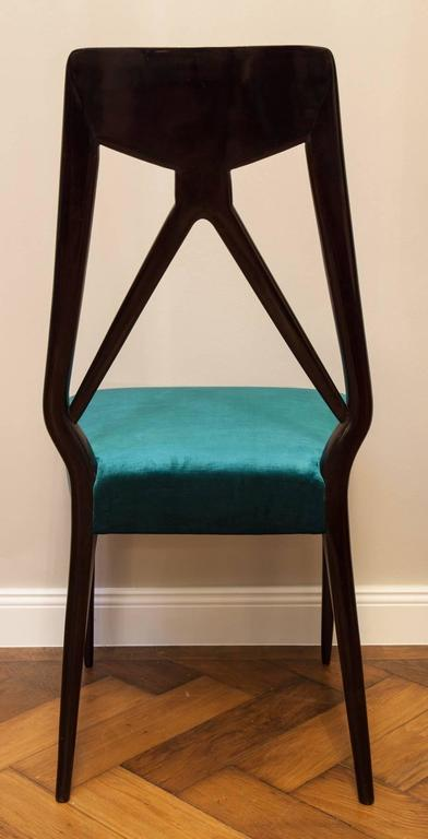 Lacquered Set of six Vittorio Dassi Chairs, Italy circa 1950 For Sale