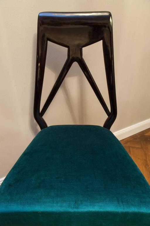 Mid-20th Century Set of Six Vittorio Dassi Chairs, Italy, circa 1950 For Sale