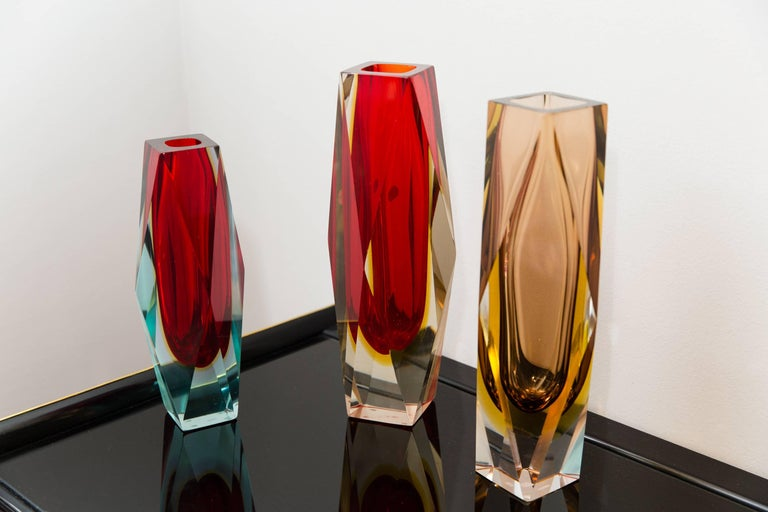 Set of Three Sommerso Vases, Italy, circa 1950 5