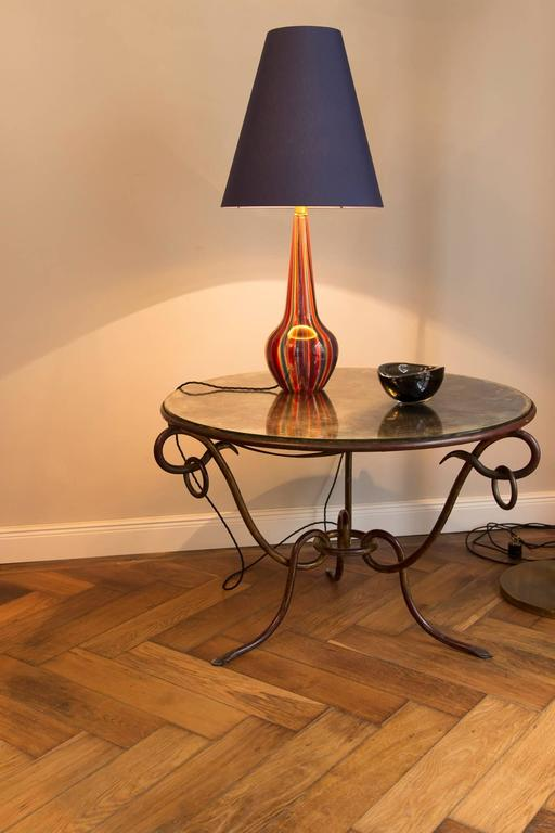 Rare Table Lamp by Barovier & Toso, Italy circa 1950, Murano glass base Multicolor, brass suspension, new made blue color silk shade inside gold, height of the shade 38 cm, diameter of the shade 35 cm, height of the base 45 cm, diameter 18 cm, total