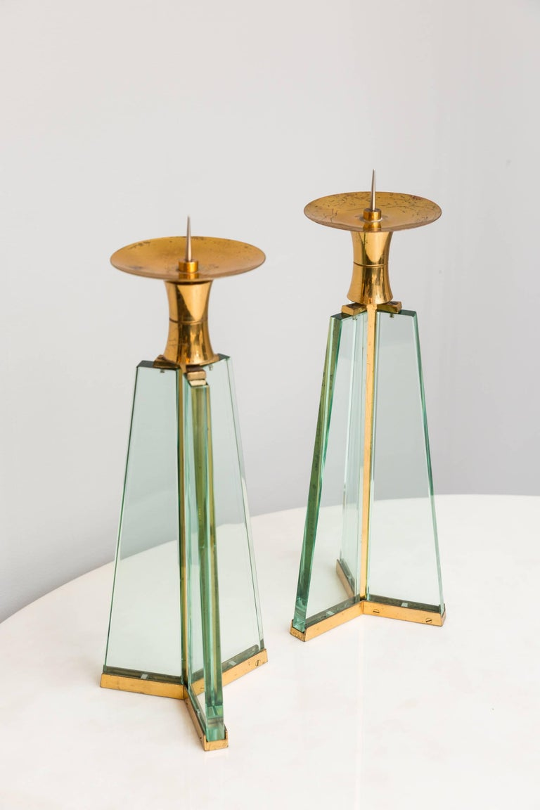 Mid-Century Modern Pair of Fontana Arte Candle Holder, Italy circa 1950 For Sale