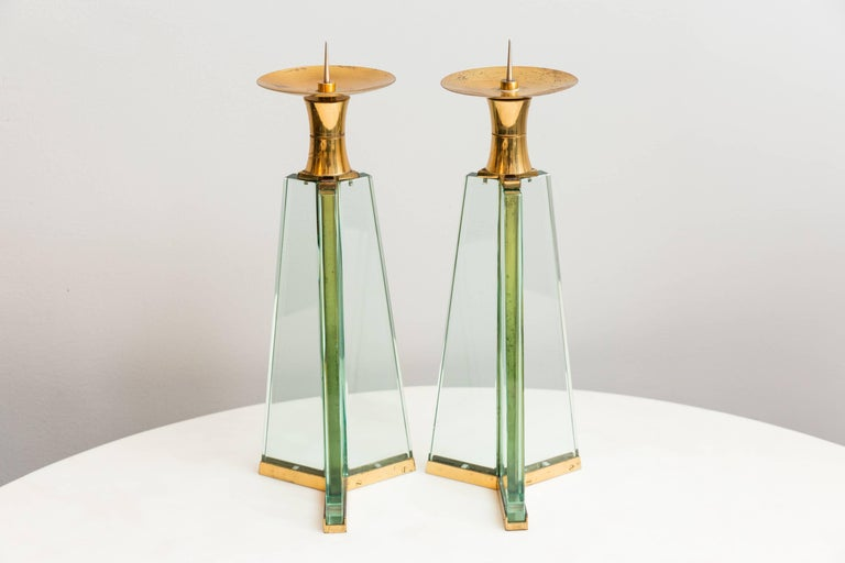 Italian Pair of Fontana Arte Candle Holder, Italy circa 1950 For Sale