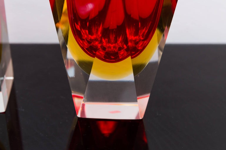 Set of Three Red Color Murano Glass Vases, Prod Sommerso, Italy, circa 1960 6