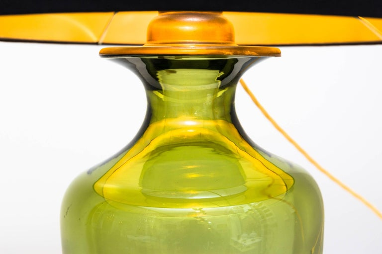 Brass Table Lamp by Seguso Vetri D´Arte, Murano Italy, circa 1950 For Sale