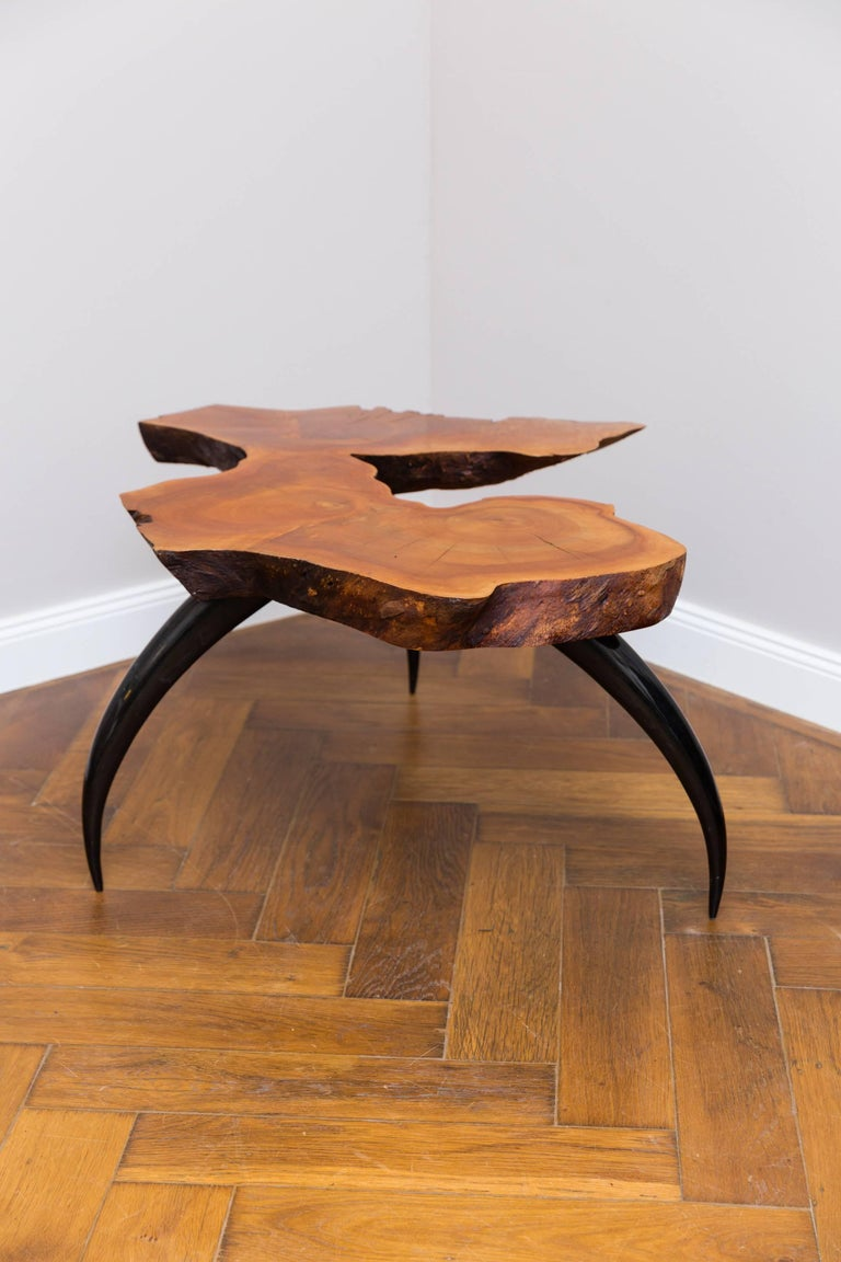 Coffee table, MESA 1 by Jaro Komon, Germany 2015, unique piece, of the series Dynamic Objects, Cherrywood, horn legs in carbon fibers, shellac polished surface.
