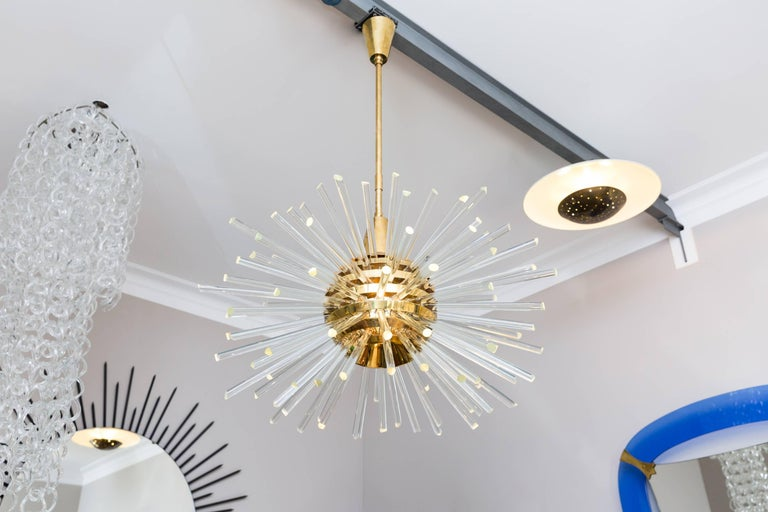 Amazing big miracle chandelier by Bakalowits and Söhne, Austria Vienna, circa 1960, crystal glass rods, brass suspension. Measures: Diameter 100 cm, height within canopy and rod 140 cm (rod are adjustable in the height). Height of the star 60 cm.