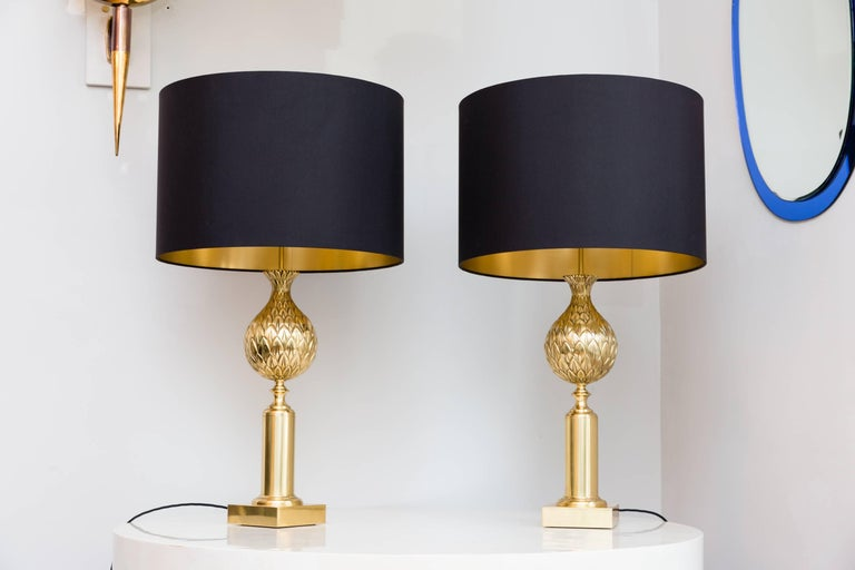 Elegant pair of Pineapple table lamps by Maison Charles, Paris, France, circa 1970, heavy solid brass base, Pineapples made in solid brass, brass stand, rewired with black cotton cable, black silk handmade shades with inside gold foil.