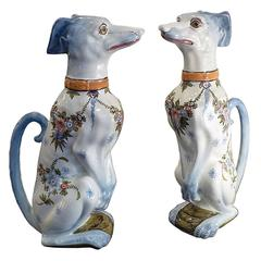 Pair of Saint Clement Faience Pitchers, Sitting Greyhound, France, circa 1900