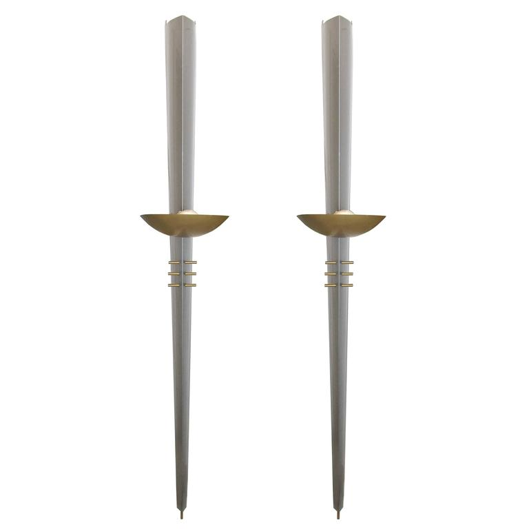 Very Large Wall Sconces : Very Large Pair of Wall Sconces by Philips at 1stdibs