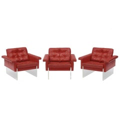 Leather and Lucite Vintage Italian Armchairs of the 1970s