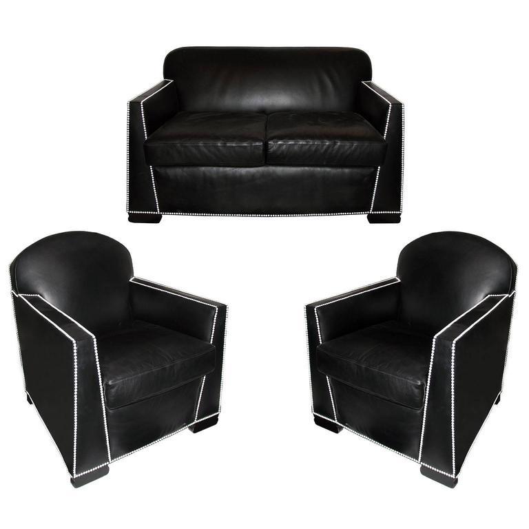 Authentische Sofa-Gruppe mit zwei Sesseln, Pierre Chareau zugeschrieben 1