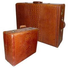 Two Vintage Genuine Leather Luggages in Alligator Look