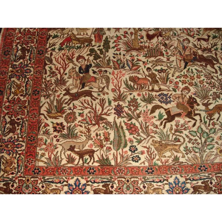 Figural Tabriz Isfahan Persian Rug With Hunting Scene For