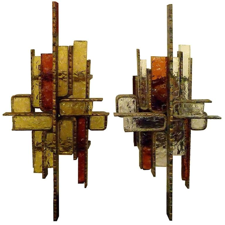 Brutalist Metal and Glass Sconces in the Style of Poliarte, Italy, circa 1965