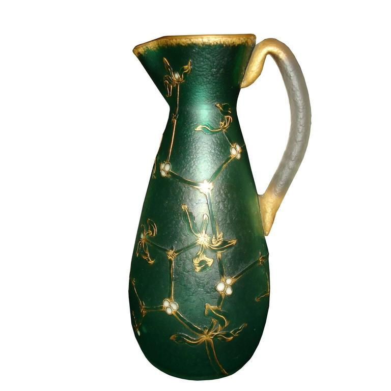 Daum French Art Nouveau Acid Etched Glass Vase or Pitcher with Enamel