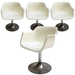 Four Tulip Swivel Chairs Grosfillex France, 1960s