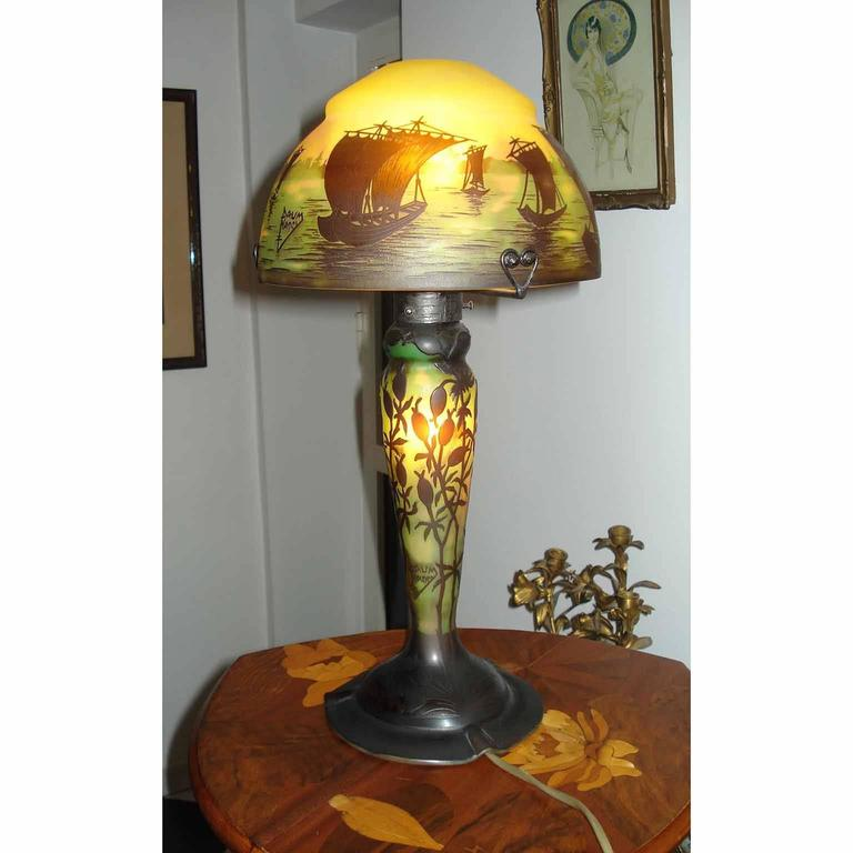 French Art Nouveau Daum Nancy Cameo Glass Table Lamp With Boats Landscape  Decor. Cameo Signature