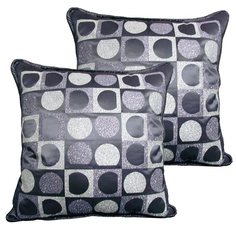 "Pair of Decorative Glitter Pillows, Philosophy Pillows ""Vasarely"" For Sale"