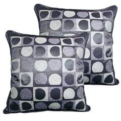 "Pair of Decorative Glitter Pillows, Philosophy Pillows ""Vasarely"""