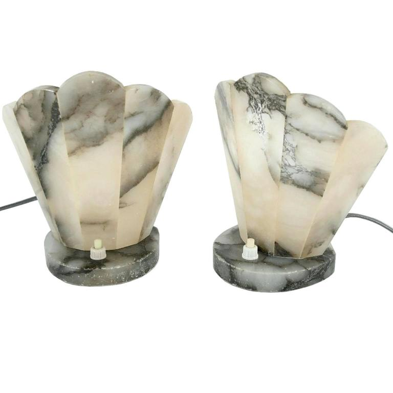 Art Deco Alabaster Table Lamps, France, circa 1930