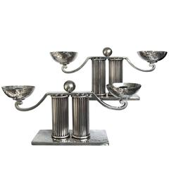 Jean Despres Silver Plated Candlesticks