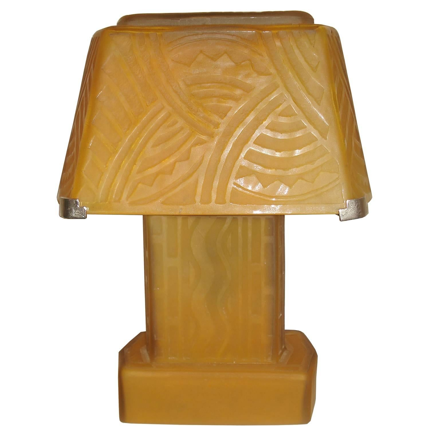 Daum Nancy Art Deco Table Lamp For Sale