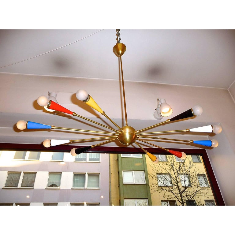 Italian Ceiling Lamp in the style of Arredoluce In Excellent Condition For Sale In Bochum, NRW