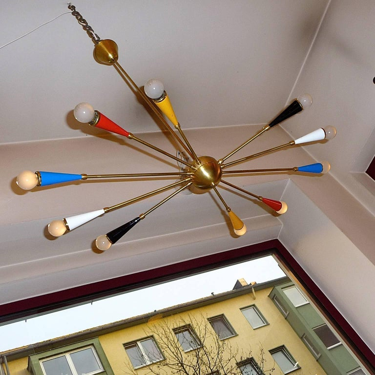 Lacquered Italian Ceiling Lamp in the style of Arredoluce For Sale