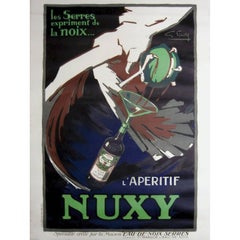 Original Vintage Art Deco Drink Advertising Poster for L'Aperitif Nuxy by Favre