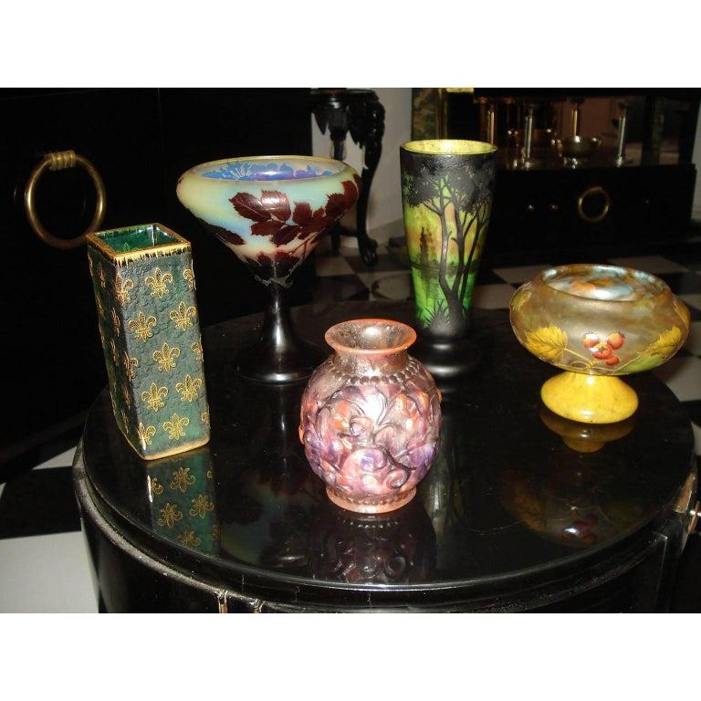 "Daum Nancy Cameo Glass ""Fleur-de-Lis"" Vase 2"