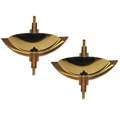 Pair of Large German Brass Wall Lights of the 1970s