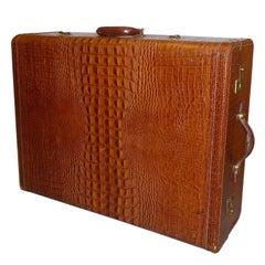 Vintage Genuine Leather Eveleigh Luggage in Alligator Look