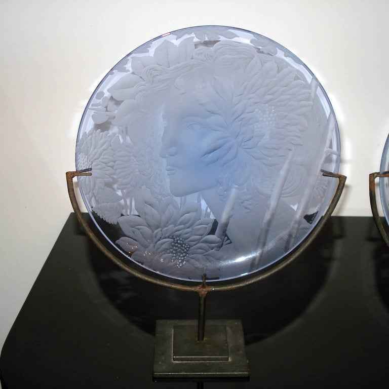 Italian Very Decorative Glass Plate by Franz Pelzel for S.A.L.I.R For Sale