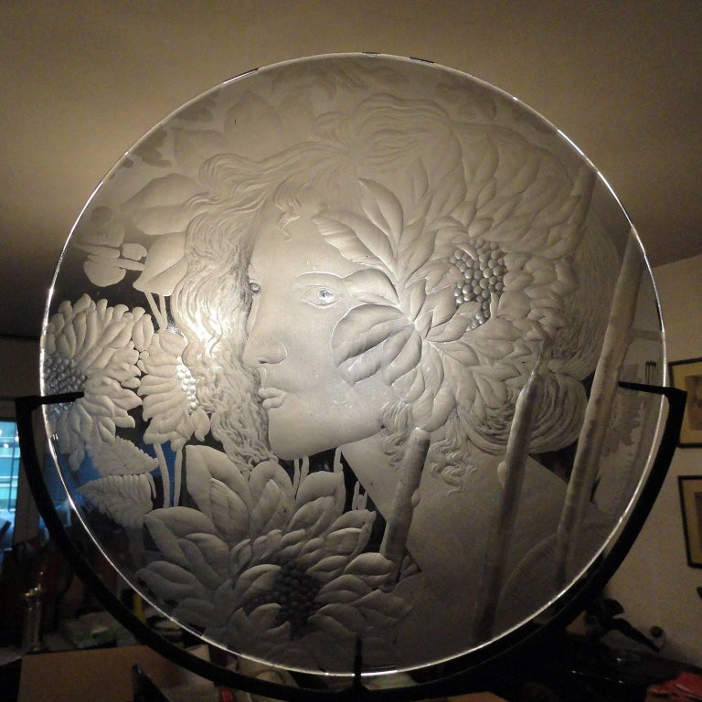 Very Decorative Glass Plate by Franz Pelzel for S.A.L.I.R For Sale 2