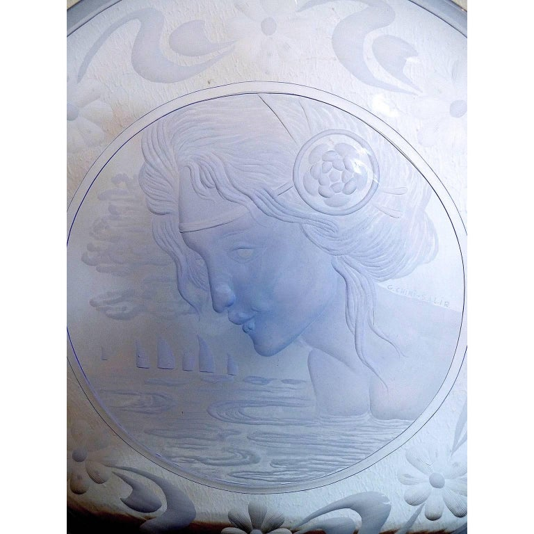 Very Decorative Glass Plate by Franz Pelzel for S.A.L.I.R In Excellent Condition For Sale In Bochum, NRW