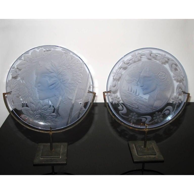 Art Nouveau Very Decorative Glass Plate by Franz Pelzel for S.A.L.I.R For Sale