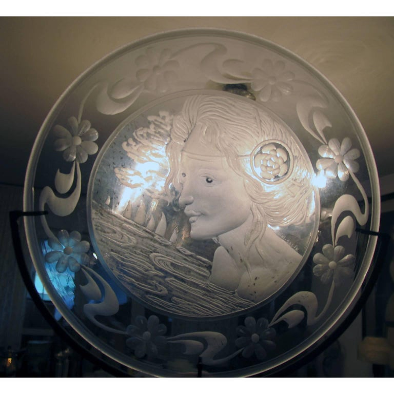 Very Decorative Glass Plate by Franz Pelzel for S.A.L.I.R For Sale 1