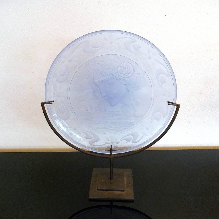 Metal Very Decorative Glass Plate by Franz Pelzel for S.A.L.I.R For Sale