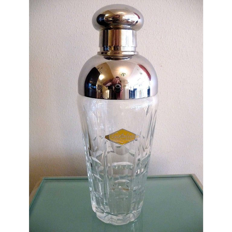 Hand-cut crystal and silvered metal art deco cocktail drinks shaker. Original label
